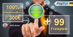 Read more about the article Mit Paypal zahlen und 99 Freispiele kassieren